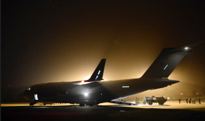 The photo is from late afternoon, January 13, 2013, and shows a UK C-17 in support of the deployment of French forces in Mali.  Credit Photo: French Ministry of Defense