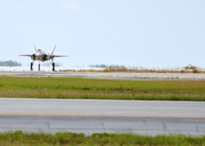 : Two new Air Force variants of the F-35 Lightning II taxi in to Eglin Air Force Base, Fla., for the first time June 5, 2013. The 33rd Fighter Wing received the F-35A Lightning II jets bringing the total to 12 Air Force joint strike fighters.  Including the Marine Corps variant of the F-35 based here, the training fleet grew to 25 F-35A and F-35B joint strike fighters. The Navy F-35C variant is slated to arrive in the coming weeks. (U.S. Air Force photo/Staff Sgt. Nicholas Egebrecht)