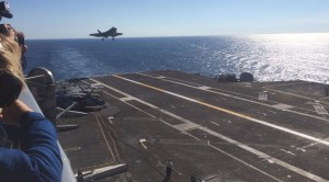 F-35C on approach to a landing aboard the USS Nimitz. Credit Photo; Breaking Defense